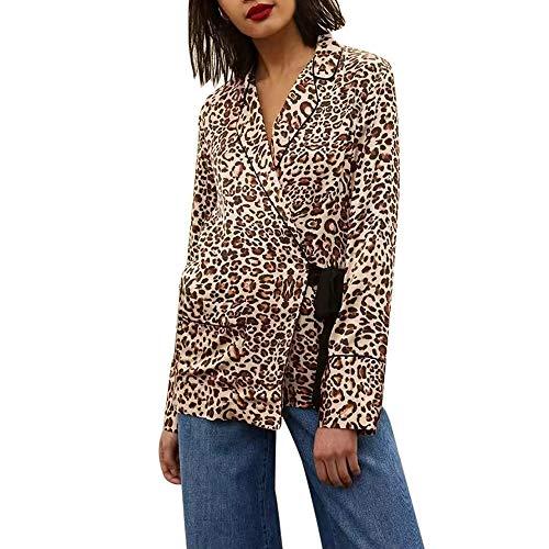 NRUTUP Fashion Women Coat Lapel Leopard Print Side Waist Bow Frenulum Shirt Coats Blouse Top Cheap Deals(Coffee,S)