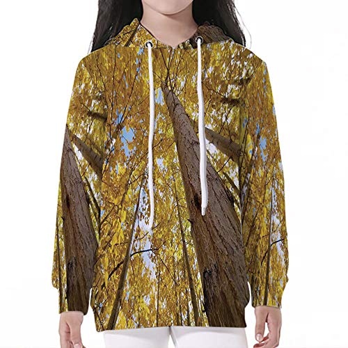 Kid Nation Kids' Sweater Long Sleeve,Forest Home Decor,Up View of Fall Aspen ()