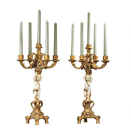 French Baroque Ornate Cherub Figure 5 Tapers Candelabra Pair
