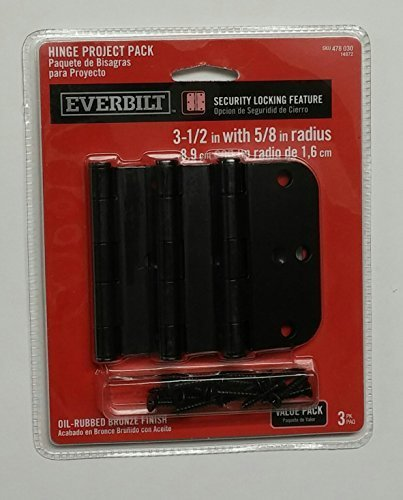 Everbilt 3-1/2 in. Oil-Rubbed Bronze 5/8 in. Radius Security Door Hinges (3-Pack) by Crown - Radius Hinges Bronze Door 5/8