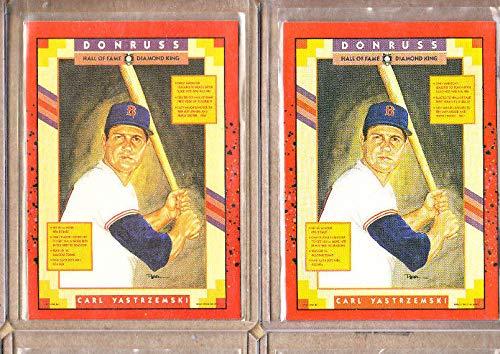 Carl Yastrzemski - 2 Card Lot-(2) 1990 Donruss HOF Diamond King-Red Sox-Mint ()