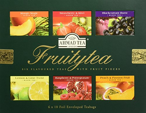 Ahmad Tea Fruitytea Variety Gift Box, 60 Foil Enveloped - Tea Set Gourmet Green