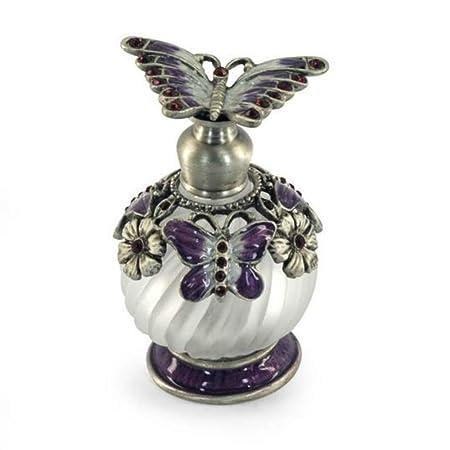 CAPRILO Perfumador Decorativo de Metal y Cristal Mariposa. Joyas y Pedrería. Adornos y Figuras. Regalos Elegantes. Medidas: 7 x 4.5 x 4.5 cm.