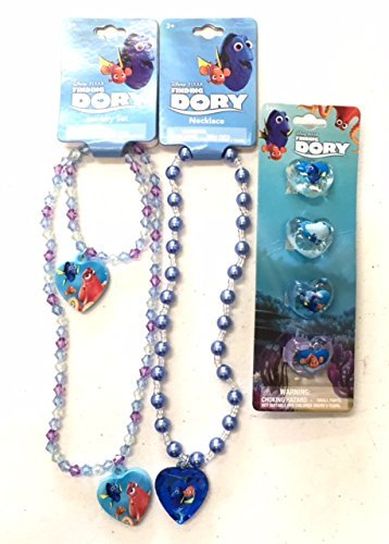 [Finding Dory Jewelry Accessory Set - Includes 2 Necklaces, 1 Bracelet, and 4 ct Plastic Rings] (Dory And Nemo Costumes)