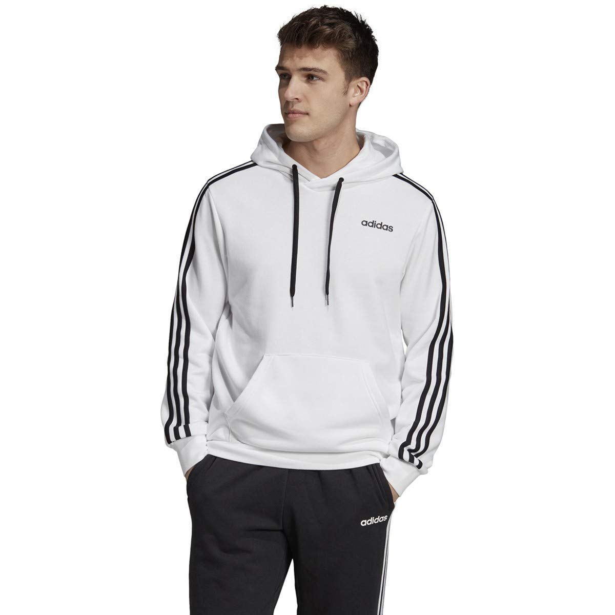 adidas Essentials 3 Stripes Pullover French Terry, White/Black, 3XLT by adidas