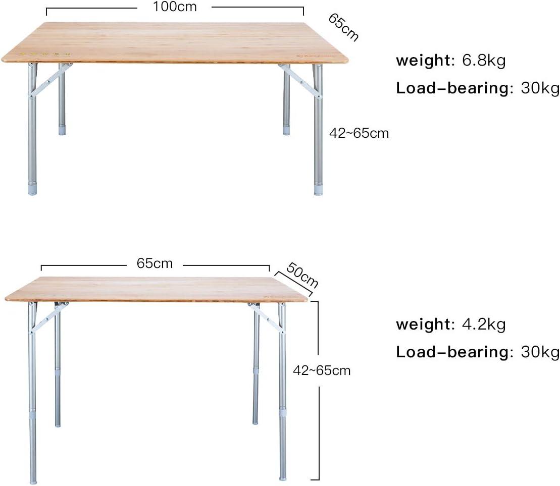 KingCamp Mesa Plegable Bamboo 4 PREMIOS ISPO Altura Ajustable con Revestimiento Anti-UV para 2 a 6 Personas Grande 100 /× 65 cm, Medio 65 /× 50 cm, peque/ño 60 /× 40 cm
