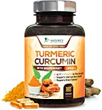 Turmeric Curcumin Max Potency 95% Curcuminoids 1950mg with Bioperine Black Pepper for Best Absorption, Anti-Inflammatory Joint Relief, Turmeric Supplement Pills by Natures Nutrition - 180 Capsules