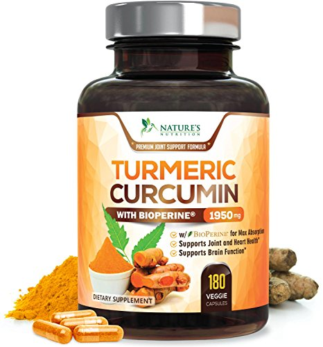 Turmeric Curcumin Max Potency 95% Curcuminoids 1950mg with Bioperine Black Pepper for Best Absorption, Anti-Inflammatory Joint Relief, Turmeric Supplement Pills by Natures Nutrition – 180 Capsules