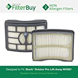 2 - Shark NV500 HEPA Filters, Part # XHF500. Designed by FilterBuy to fit Shark Rotator Professional Lift-Away Models NV500 & NV501.