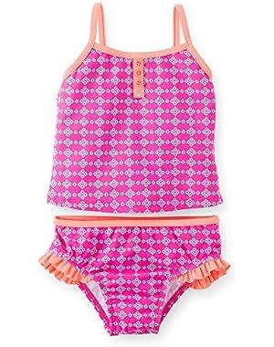Baby Girls' Geo Print Tankini (Pink/White) - 12 Months