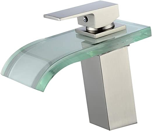 Bathroom Basin Faucet Brushed Nickel Waterfall Spout Sink Single Lever Mixer Tap