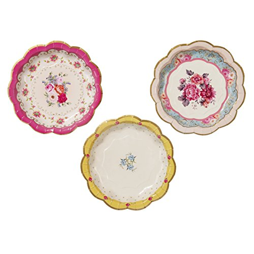 Talking Tables Truly Scrumptious Disposable Plates, 12 count, 6.5 inches for Tea Party or (Afternoon Tea Plate)
