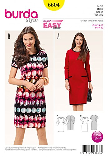 Burda Ladies Easy Sewing Pattern 6604 Jersey Knit Dresses: Amazon.co ...