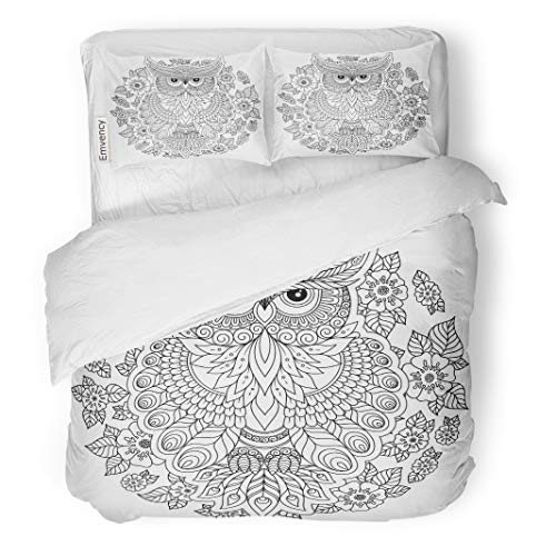 Semtomn Decor Duvet Cover Set Twin Size Animal Owl Adult Antistress Coloring Page Black and White for Book Bird 3 Piece Brushed Microfiber Fabric Print Bedding Set Cover
