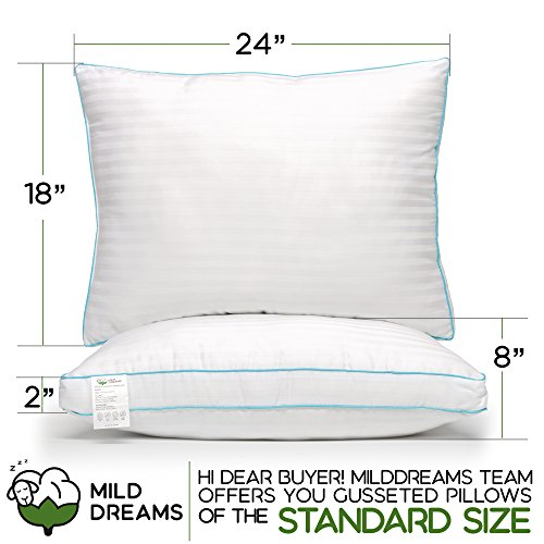 Milddreams Pillows for Sleeping 2 Pack Standard Size Gusseted, Set of 2 Bed Pillows, Medium Soft