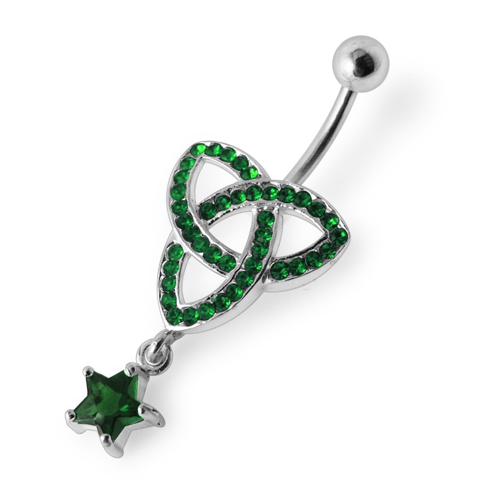 Silver Belly Rings CZ Crystal Gemstone Megan Celtic Design with Star Dangling 925 Sterling Body Jewelry