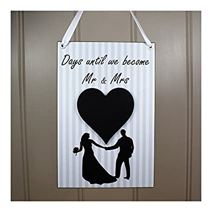 Boda cuenta atrás Mr y Mrs pizarra corazón regalo de ...