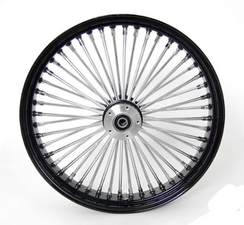 21x3.5'' Black Mammoth 48 Fat Spokes Front Wheel for Harley-Davidson Dual Disc