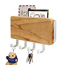 Wooden Four Hook Key Rack, Segarty Wall Mount Mail Letter and Key Rack Holder Organizer for Office, Entryway, Kitchen with Dry-Erase Board - Newspaper Magazine Holder Coat Rack