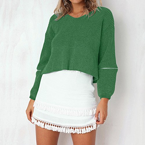 en Casual Sweat Automne Printemps Pulls Dihope Col Sweater Rond Pullover Sweatshirt Femme Longues Vert Tricot Top Manches RRwI8