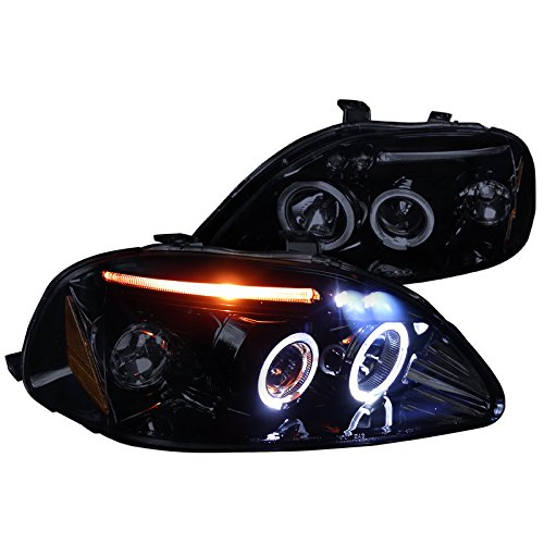 4dr Halo Led - Spec-D Tuning 2LHP-CV96G-TM Honda Civic Dx Ex Si 2/3/4Dr Halo Led Projector Headlights Smoked