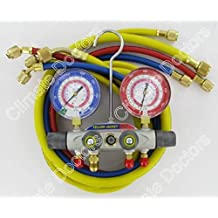 Yellow Jacket 49967 Titan 4-Valve Test and Charging Manifold degrees F, psi Scale, R-22/404A/410A Refrigerant, Red/Blue Gauges