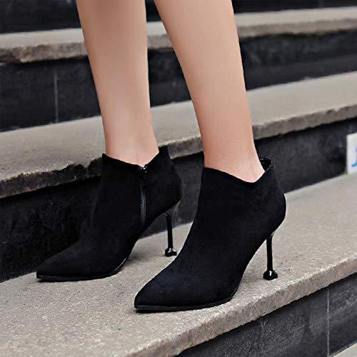 LBTSQ Damenschuhe Schuhe Heel 9Cm Spitze Dünne Reißverschluss Sohle Martin Stiefel Wildleder Reißverschluss Dünne Katze Bei Bloßen - Flut d3a7a7
