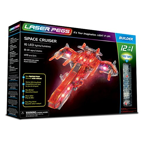 Laser Pegs Space Cruiser 12-in-1 Building Set; The First Lighted Construction Toy to Ignite Your Child