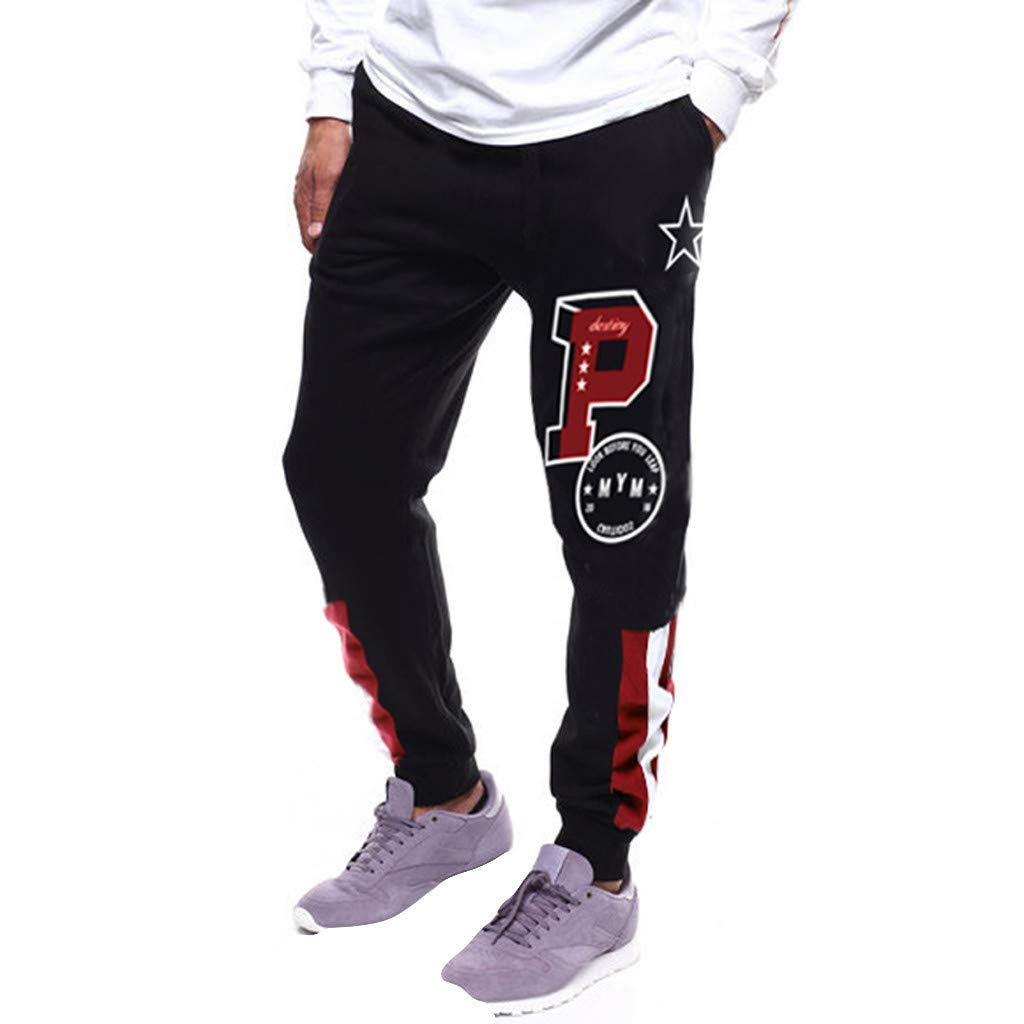 Men Splicing Printed Overalls Casual Pocket Sport Work Casual Trouser Pants