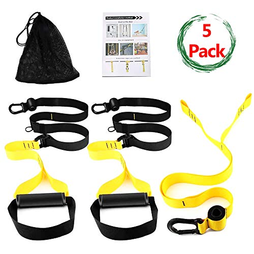Bodyweight Fitness Resistance Trainer Kit – Complete Training Straps Kit for Full Body Strength – Easy Quick Setup Workouts Equipment Set – Without Installing Door Stop for Travel Home Gym Outdoors