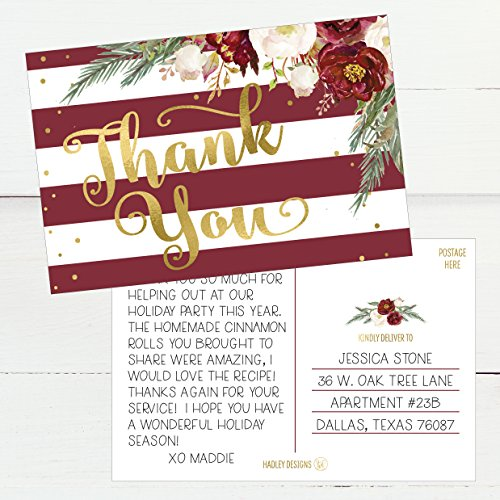 25 4x6 Blank Christmas Holiday Thank You Postcards Bulk, Cute Modern Fancy Winter Note Card Stationery For Wedding, Bridesmaids, Bridal or Baby Shower, Teachers, Appreciation,Religious, Business Cards Photo #4