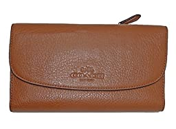 Coach 52715 Pebbled Leather Checkbook Wallet Saddle