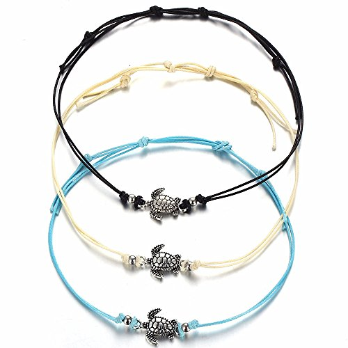 ErYao 1pcs Anklets,Women's Turtle Beach Foot Chain Anklets Vintage Bracelet Jewelry (Black, Free Size) from ErYao