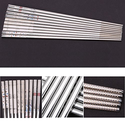 Portable Stainless Steel Sushi Chopsticks Creative Engraving Rose Heart Pattern Tableware 9.25 Inch (Heart) by Zerone (Image #5)