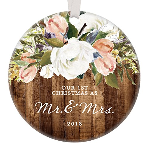 Bridal Ornament Set (Rustic Newlyweds Christmas Ornament, 2018 First Christmas as Mr & Mrs Gift for Couple Wedding Day Beautiful Modern Farmhouse Floral Present 3