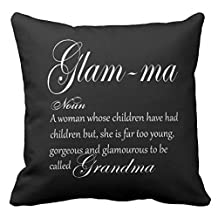Grandma Glam Ma Hand Lettered Art Throw Pillow Case