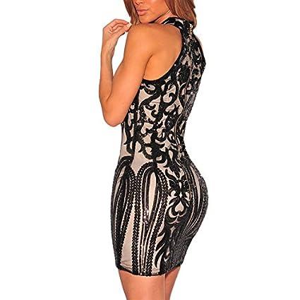 Vestidos Ropa De Moda para Mujer Sexys Cortos Largos Negros De Noche Casuales y Elegantes VE0068 at Amazon Womens Clothing store:
