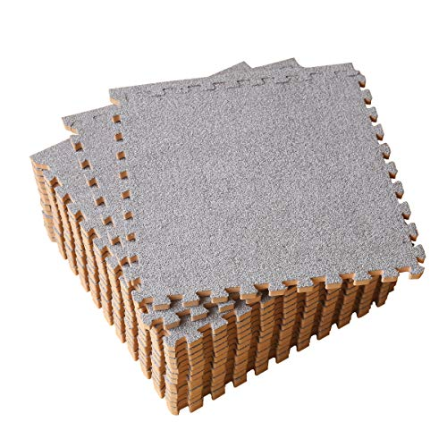 Interlocking Foam Floor Mat 16 Tiles 16 sq.ft Puzzle Carpet Flooring Exercise Square Mats Gym,Playroom Floor Mats for Carpet 1'x1' (Light Gray)