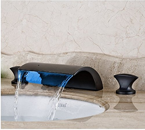 Gowe Countertop Bathroom Sink Faucet LED Waterfall Spout Mixer Tap Oil Rubbed Bronze Finished 4