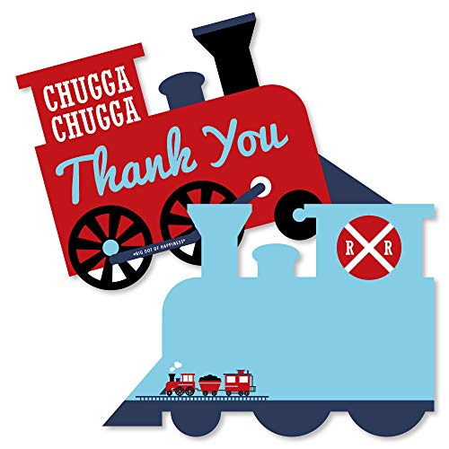 - Railroad Party Crossing - Shaped Thank You Cards - Steam Train Birthday Party or Baby Shower Thank You Note Cards with Envelopes - Set of 12