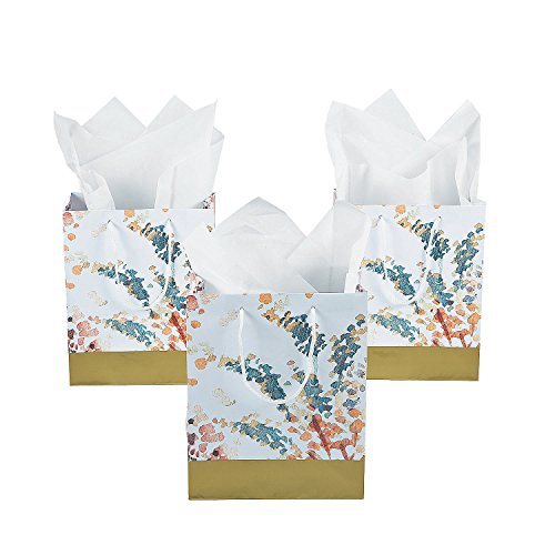 Fun Express Sweet Fall Medium Gift Bags | 12 Count | Great for Fall Themed Wedding, Birthday Party Favors, Bridal Shower, Engagement -