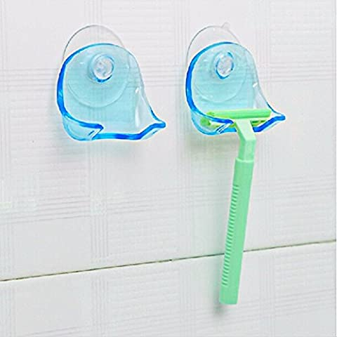 GreenSun(TM) 1pc Clear Plastic Super Suction Cup Razor Rack Bathroom Razor Holder Suction Cup Shaver Storage Rack Blue Worldwide New - Hide Laundry Holder