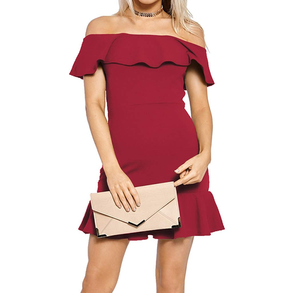 Forthery-Women Off Shoulder Ruffle High Low Cocktail Skater Swing Mini Dress(Wine,US Size XS = Tag S)