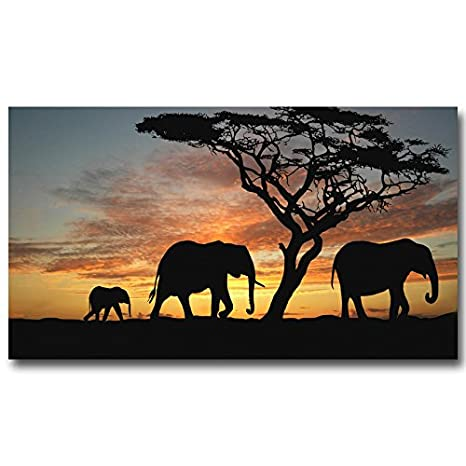 Elephant Animals Nature Art Silk Poster 13x24 24x43 inch Africa Sunset