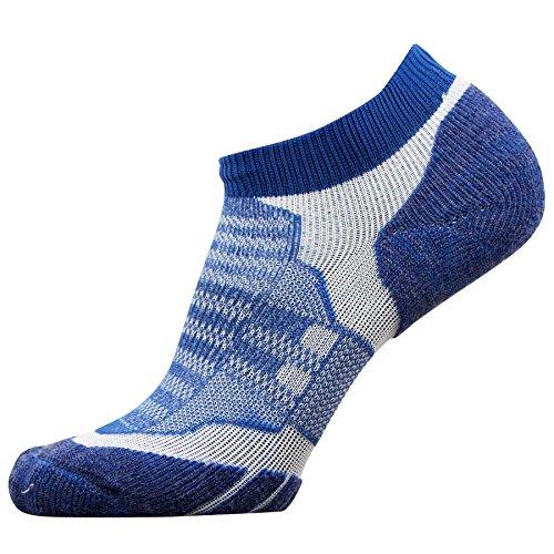 Womens Ultralight Trail Sock (No-Show Wool Running Socks – Ultra-Light Merino Wool Athletic Socks, Trail Socks (Blue, Medium))