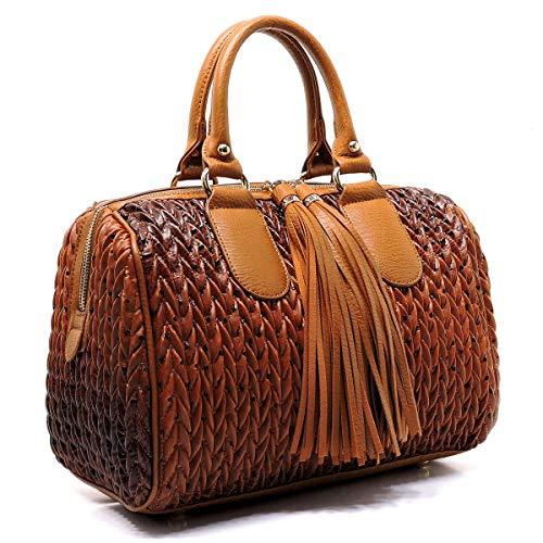 - Handbag Republic Quilted/Braided Effect, Boston Satchel w/Fringe Pulls + Strap- Large+ (Ostrich Brown)
