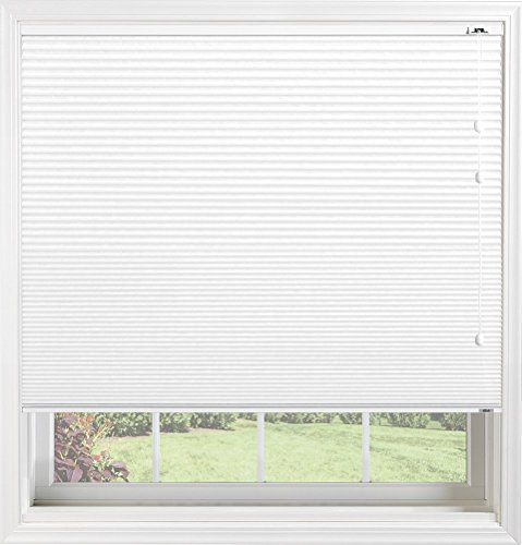 "Bali Blinds Custom Blackout Cellular Shade with Cord Lift, 3/8"" Double Cell Fabric, Double Cell Midnight Bright White, 21.5"" X 34"""