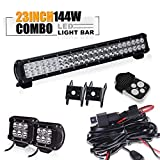 TURBO SII 23 inch Led Work Light Bar 144w Spot Flood Combo Beam Off-road Light bar + 4 Inch Led Work Light Bar &3 lead Wirng Harness Kit For Jeep Tractor Boat Off-Road SUV ATV Truck 4x4 Jeep Front Bumper Grill Mount