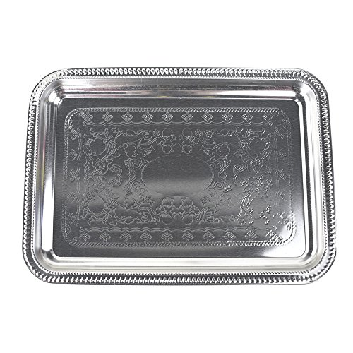 - Homeford Engraved Reflective Rectangular Serving Tray, 11-Inch