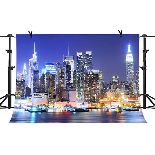 PHMOJEN 7x5ft York City Backdrop Manhattan Night Scene Photography Background Theme Party YouTube Backdrop Studio Props GEPH002 -